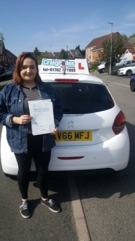 A big congratulations to Georgia Swift, who has passed her driving test today, at Cobridge Driving Test Centre.<br />