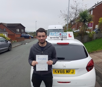 A big congratulations to Kia Tomas, who has passed his driving test today at Cobridge Driving Test Centre, at his First attempt with just 4 driver faults.<br />
