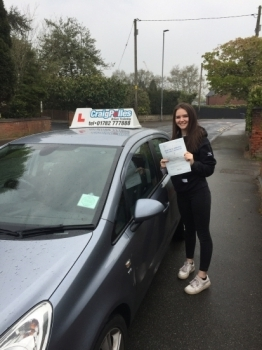 A big congratulations to Estela Sanchez, who has passed her driving test today at Newcastle Driving Test Centre, with just 6 driver faults.<br />