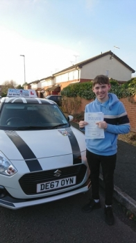 A big congratulations to Nathan Feltcher, who has passed his driving test at Crewe Driving Test Centre.<br />