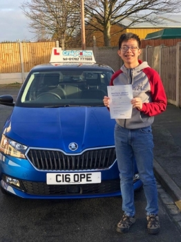 A big congratulations to Matthew Chau, who has passed his driving test toady at Cobridge Driving Test Centre.<br />