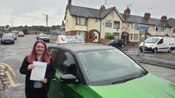 A big congratulations to Rebecca Johnson, who has passed her driving test today at Cobridge Driving Test Centre, at her First attempt and with just 1 driver fault.<br />