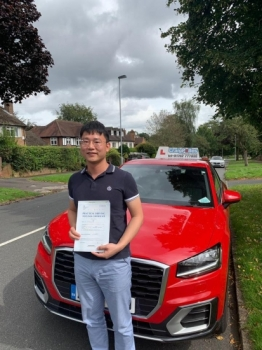 A big congratulations to Junzhe Wang, who has passed his driving test today at Newcastle Driving Test Centre, at his First attempt and with just 4 driver faults.<br />