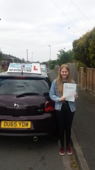 A big congratulations to Caitlin Heath Caitlin passed her driving test today at Cobridge Driving Test Centre first time and with just 6 driver faults <br />