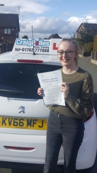A big congratulations to Emily Moore, who has passed her driving test at Cobridge Driving Test Centre, with just 5 driver faults.<br />
