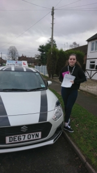 A big congratulations to Sasha Slight, who has passed her driving test at Crewe Driving Test Centre, with just 4 driver faults.<br />