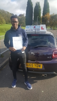 A big congratulations to Lamar Mingo Lamar passed his driving test at Cobridge Driving Test Centre first time and with just 3 driver faults<br />