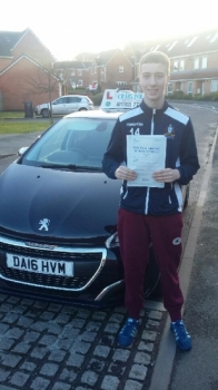 A big congratulations to Liam Cope, who has passed his driving test at Newcastle Driving Test Centre, with 7 driver faults.<br />
