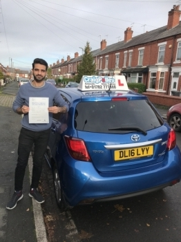 A big congratulations to Ahmed Zwain who has passed his driving test today at Crewe Driving Test Centre, at his First attempt and with just 1 driver fault.<br />
