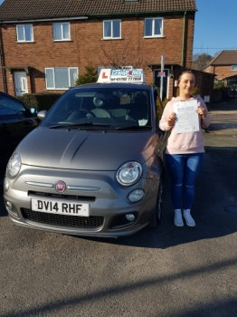 A big congratulations to Rachel Bethel, who has passed her driving test today at Newcastle Driving Test Centre, <br />