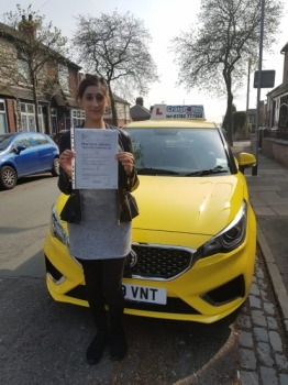 A big congratulations to Uzma Afzal, who has passed her driving test today at Cobridge Driving Test Centre, on her First attempt and with just 4 driver faults.<br />