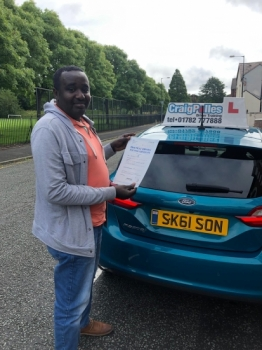A big congratulations to Ismail, who has passed his driving test today at Cobridge Driving Test Centre.<br />