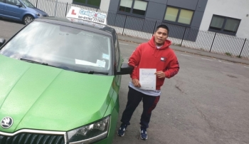 A big congratulations to Jomar Eustaquio, who has passed his driving test today at Cobridge Driving Test Centre, with just 4 driver faults.<br />