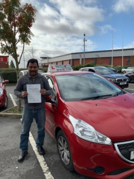 A big congratulations to Varghese Antony, who has passed his driving test today at Cobridge Driving Test Centre, with just 4 driver faults.<br />