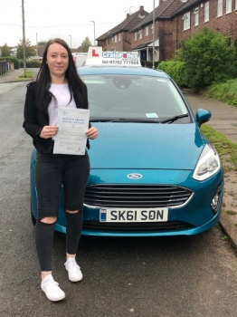 A big congratulations to Tiffany Calcott, who has passed her driving test today at Newcastle Driving Test Centre, with 8 driver faults.<br />