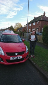 A big congratulations to Rebecca Morris, who has passed her driving test today at Crewe Driving Test Centre. First time and with just 4 driver faults.<br />