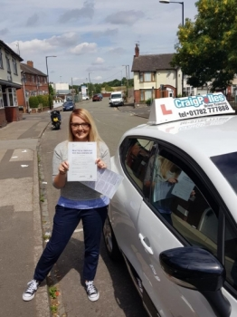 A big congratulations to Stacey, who has passed her driving test today at Cobridge Driving Test Centre, with just 3 driver faults.<br />