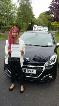A big congratulations to Tazrabin Jawadin, who has passed her driving test today at Newcastle Driving Test Centre, with 7 driver faults.<br />